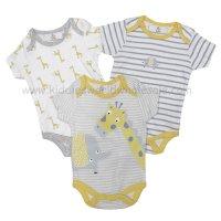 R18749: Baby Unisex Animals 3 Pack Bodysuits (0-12 Months)