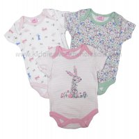 R18751: Baby Girls Bunny 3 Pack Bodysuits (0-12 Months)