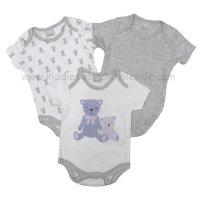 R18752: Baby Unisex Bear 3 Pack Bodysuits (0-12 Months)