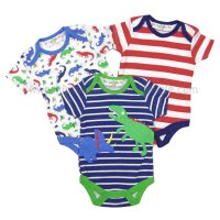 R18753: Baby Boys Dinosaurs 3 Pack Bodysuits (0-12 Months)