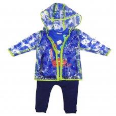 R18755: Baby Boys Dinosaur Raincoat, T-Shirt & Jog Pant Outfit (1-3 Years)