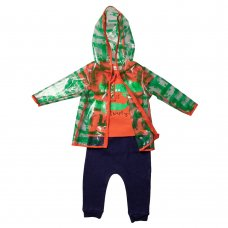 R18756: Baby Boys Crocodile Raincoat, T-Shirt & Jog Pant Outfit (1-3 Years)