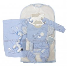 R18757: Baby Boys Safari 10 Piece Net Bag Gift Set With Soft Toy (NB-6 Months)