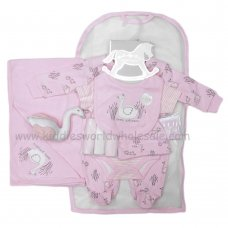 R18760: Baby Girls Swan 10 Piece Net Bag Gift Set With Soft Toy (NB-6 Months)