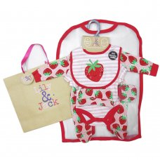 R18780: Baby Girls Strawberry 6 Piece Mesh Bag Gift Set (NB-6 Months)