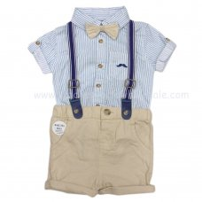 R18781: Baby Boys Bodysuit Shirt With Bow Tie & Chino Short With Braces Outfit (0-18 Months)