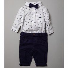 R18783: Baby Boys Bodysuit Shirt With Bow Tie & Chino Pant  Outfit (0-18 Months)