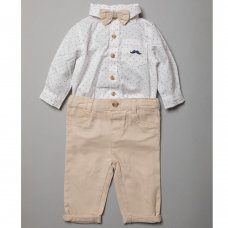 R18785: Baby Boys Bodysuit Shirt With Bow Tie & Chino Pant  Outfit (0-18 Months)
