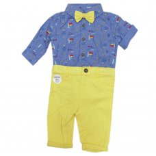 R18786: Baby Boys Bodysuit Shirt With Bow Tie & Chino Pant  Outfit (0-18 Months)