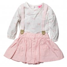 R18787: Baby Girls Chambray Skirt With Braces & Printed Bodysuit Outfit (3-24 Months)