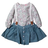 R18788: Baby Girls Chambray Skirt With Braces & Printed Bodysuit Outfit (3-24 Months)