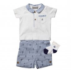 R18803: Baby Boys Yarn Dyed Anchor Print Short,  Polo Top & Socks Outfit (0-12 Months)