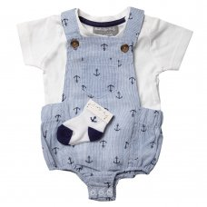 R18804: Baby Boys Yarn Dyed Anchor Print Dungaree, Top & Socks Outfit (0-12 Months)