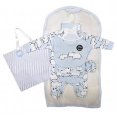 R18806: Baby Boys Hippo 6 Piece Net Bag Gift Set (NB-6 Months)