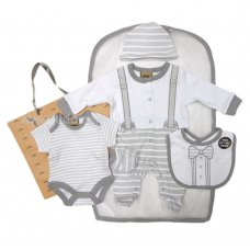 R18807: Baby Boys Bow Tie 6 Piece Net Bag Gift Set (NB-6 Months)