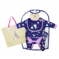 R18809: Baby Girls Space Kitty 6 Piece Net Bag Gift Set (NB-6 Months)
