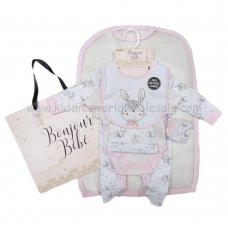 R18810: Baby Girls Bunny 6 Piece Net Bag Gift Set (NB-6 Months)