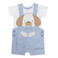 R18815: Baby Boys Puppy Dungaree & T-Shirt  Outfit  (0-12 Months)