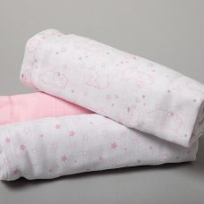 R18841: Baby Girls 3 Pack Muslin Swaddle (75 x 100 cm)