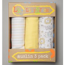 R18844: Baby Unisex 3 Pack Muslin Swaddle (75 x 100 cm)