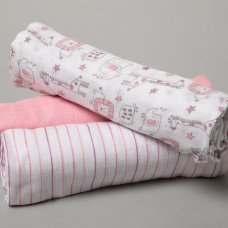 R18846: Baby Girls 3 Pack Muslin Swaddle (75 x 100 cm)