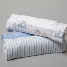 R18848: Baby Boys 3 Pack Muslin Swaddle (75 x 100 cm)