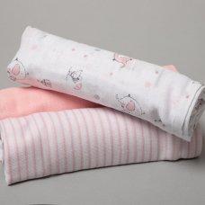 R18849: Baby Girls 3 Pack Muslin Swaddle (75 x 100 cm)