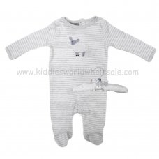 R18851: Baby Unisex Sleepsuit With Crochet Applique Sheep On A Satin Padded Hanger  (0-9 Months)