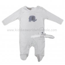 R18857: Baby Unisex Sleepsuit With Crochet Applique Elephant On A Satin Padded Hanger  (0-9 Months)