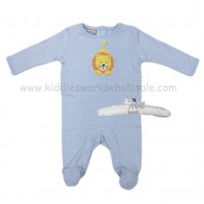 R18858: Baby Boys Sleepsuit With Crochet Applique Lion On A Satin Padded Hanger  (0-9 Months)