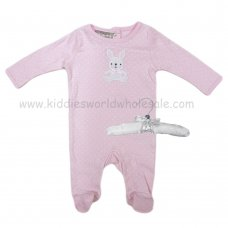 R18860: Baby Girls Sleepsuit With Crochet Applique Bunny On A Satin Padded Hanger  (0-9 Months)
