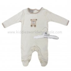 R18862: Baby Unisex Sleepsuit With Crochet Applique Bear On A Satin Padded Hanger  (0-9 Months)