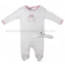R18864: Baby Girls Sleepsuit With Crochet Applique Rainbow On A Satin Padded Hanger  (0-9 Months)