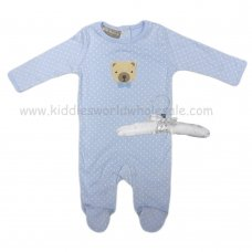 R18866: Baby Boys Sleepsuit With Crochet Applique Bear On A Satin Padded Hanger  (0-9 Months)