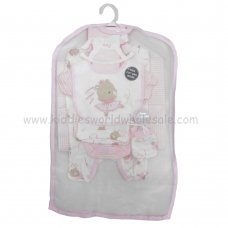 R18870: Baby Girls Ballerina Bear 6 Piece Net Bag Gift Set (NB-6 Months)