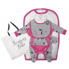R18871: Baby Girls Dog 6 Piece Net Bag Gift Set (NB-6 Months)
