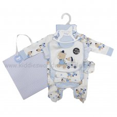 R18872: Baby Boys Bear 6 Piece Net Bag Gift Set (NB-6 Months)