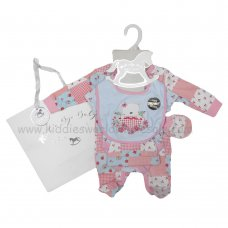 R18876: Baby Girls Patchwork Bear 6 Piece Net Bag Gift Set (NB-6 Months)