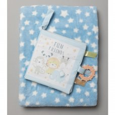 R18881:  Baby Boys Interactive Soft Fabric Book & Blanket Set