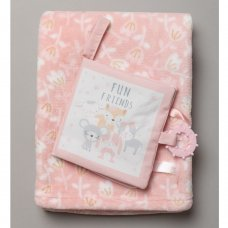 R18882:  Baby Girls Interactive Soft Fabric Book & Blanket Set