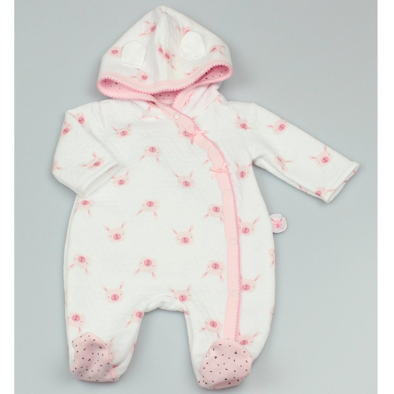 GF1045: Baby Girls All Over Print Quilted All In One (0-9 Months)