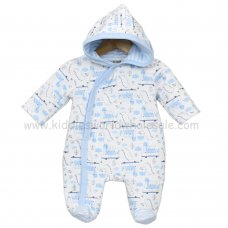 J1501: Baby Boys AOP Dinosaur Quilted All In One (0-9 Months)