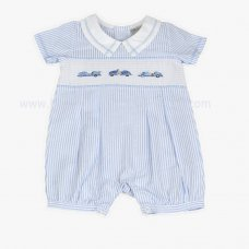 J1509: Baby Boys Cars Smocked Romper (0-9 Months)