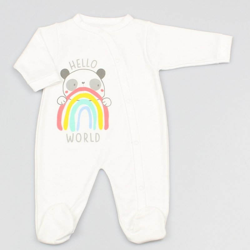 "M1335: Baby ""Hello World"" Panda Rainbow Cotton Sleepsuit (0-9 Months)"