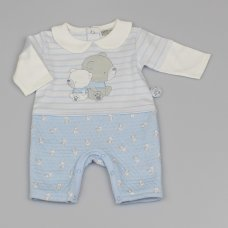 M1401: Baby Boys All Over Print Quilted Romper (0-9 Months)