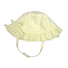 0233L: Baby Girls Lemon  Stripe Cloche With Bow (0-6 Months)