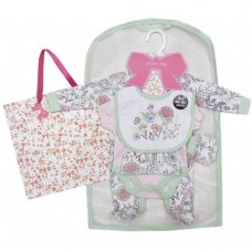 S18880: Baby Girls Floral Bird 6 Piece Mesh Bag Gift Set (NB-6 Months)