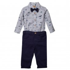 S18895: Baby Boys Bodysuit Shirt With Bow Tie & Chino Pant  Outfit (0-18 Months)