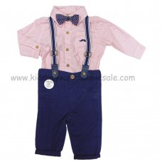 S18897: Baby Boys Bodysuit Shirt With Bow Tie & Chino Pant With Braces Outfit (0-18 Months)