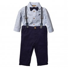 S18898: Baby Boys Bodysuit Shirt With Bow Tie & Chino Pant With Braces Outfit (0-18 Months)
